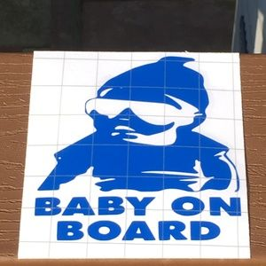 Baby On Board Car Vinyl Decal Sticker - Blue
